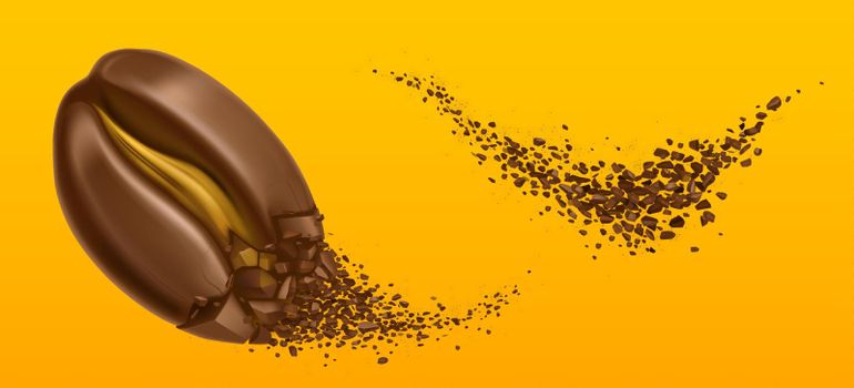 Explosion of coffee bean and ground arabica grains