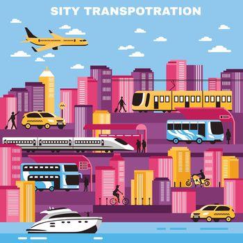 City Transportation Vector Illustration