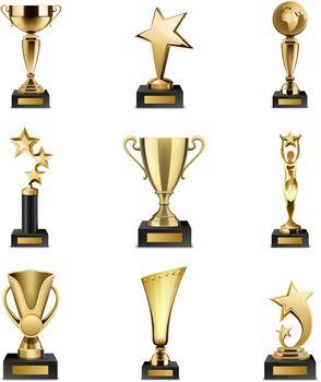 Trophy Awards Realistic Set