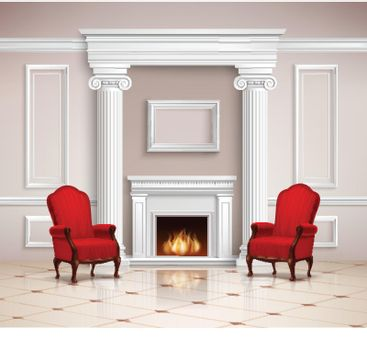 Classic Interior With Fireplace And Armchairs
