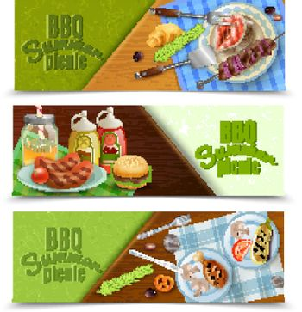 BBQ Summer Picnic Banners Set
