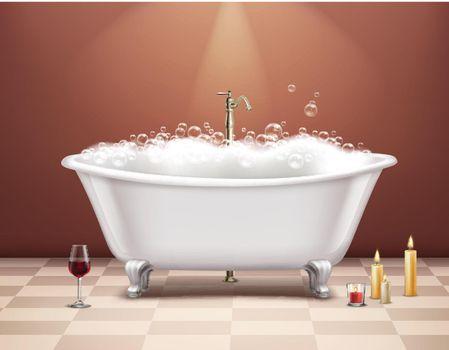 Bathtub With Foam Composition