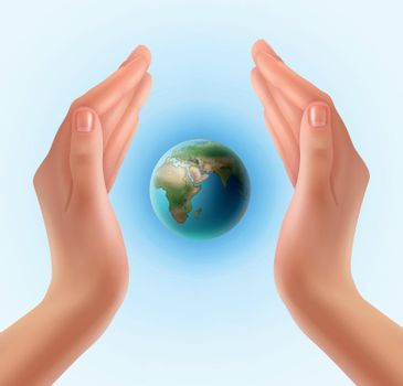 Hands with planet