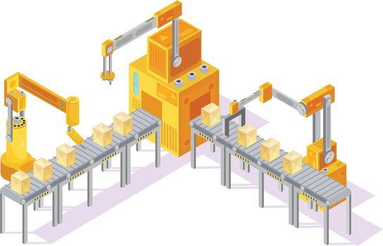 Conveyor System Isometric Illustration