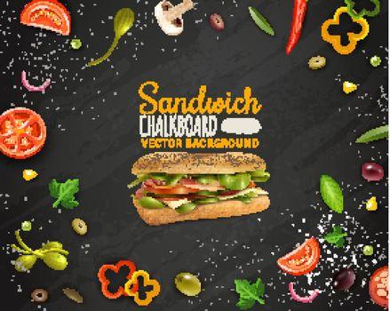 Fresh Sandwich Chalkboard Background Advertisement Poster