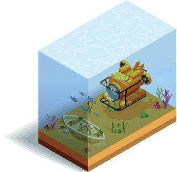 Bathyscaph Underwater Isometric Composition