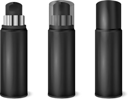 Black Spray Cans Realistic Set