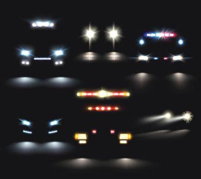 Headlamp Cars Realistic Set