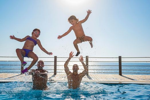 Happy People in the Pool