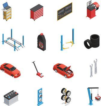 Car Maintenance Service Isometric icons