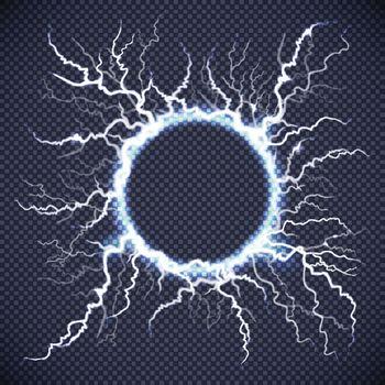 Circle Lightning Realistic Transparent Background