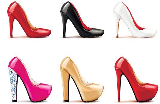 Women Shoes Realistic Set