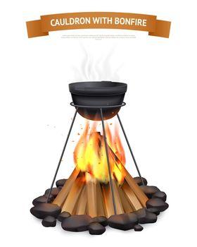 Cauldron With Bonfire Composition