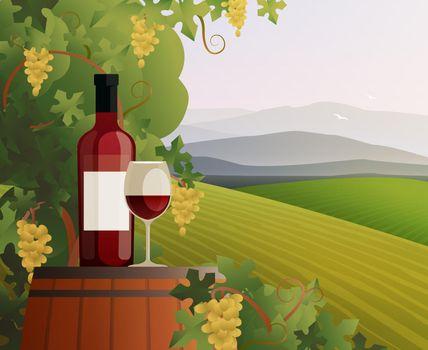 Wine And Vineyard Illustration