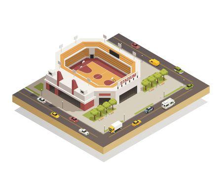 Basketball  Arena Stadium  Isometric Composition