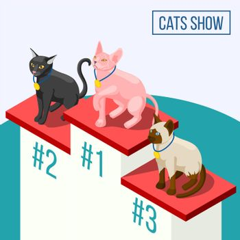 Cats Show Isometric Composition