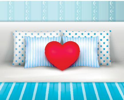 Bedlinnen Pillows Cushions Realistic Composition