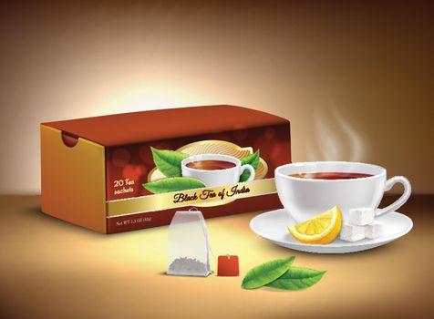 Black Tea Packaging Realistic Design