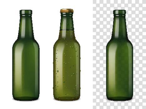 Beer Glass Bottles Realistic Set
