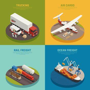 Cargo Transportation Isometric Design Concept