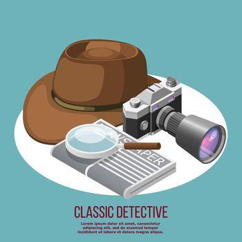 Classic Detective Isometric Composition