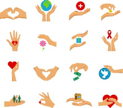 Charity Hands Flat Icon Isolated Set
