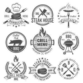 BBQ Graphic Flat Emblems