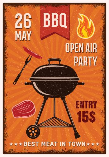 BBQ Open Air Party Vintage Poster