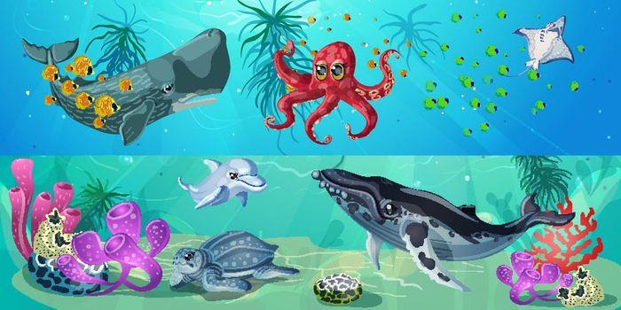 Cartoon Underwater Life Horizontal Banners