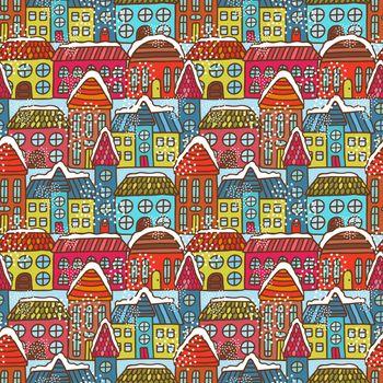 Winter houses seamless pattern