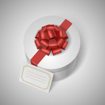Classic giftbox with red ribbon, bow and blank lable