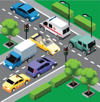 City Traffic Isometric Concept