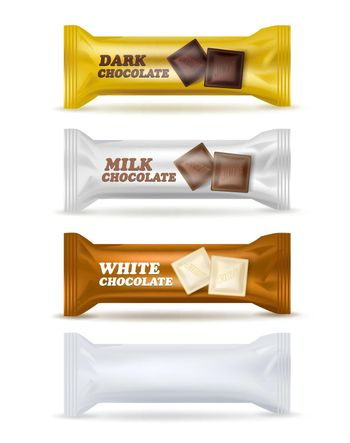 Chocolate Snack Isolated Packaging Set