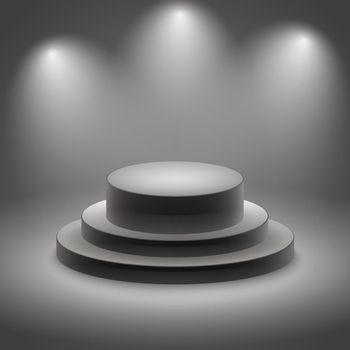 Black empty illuminated podium