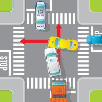 Car Accident Top View Concept