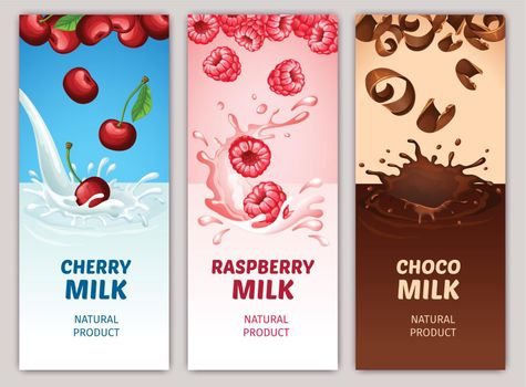 Cartoon Dairy Products Vertical Banners