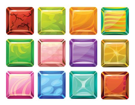 Cartoon Square Buttons Set