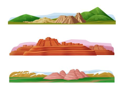 Cartoon Colorful Mountain Landscapes Set