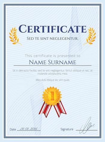 Winner certificate with seal