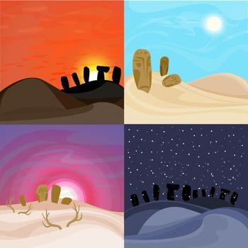 Beautiful Desert Landscapes Set