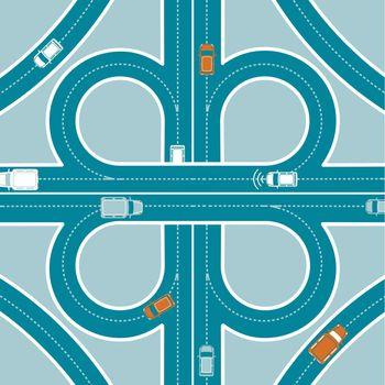 Car GPS Monitoring Top View Concept
