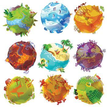 Cartoon Earth Planets Set