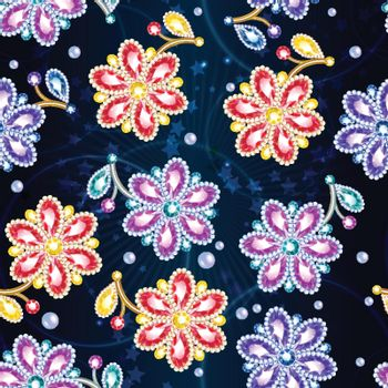 Cartoon Colorful Glossy Brooches Seamless Pattern