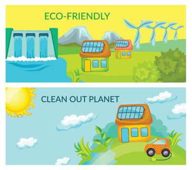 Cartoon Ecology Horizontal Banners