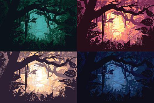 Beautiful Jungle Landscapes Set