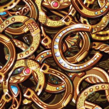 Cartoon Bright Ornate Gold Horseshoes Pattern