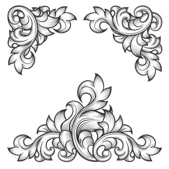 Baroque leaf frame swirl decorative design element