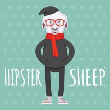 Cartooned Hipster Sheep Graphic Design