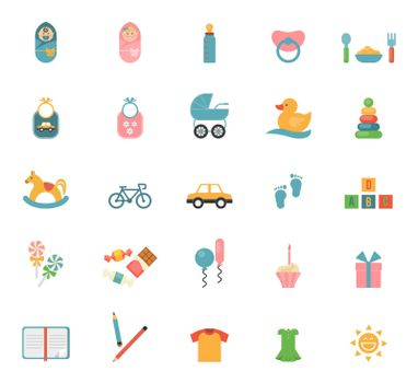 Children toys in flat style