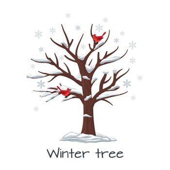Winter tree with birds vector